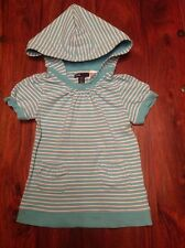 GAP girl's turquoise/white stripes short sleeves cotton mix hooded top, 4 years