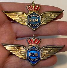 2 Vintage 1960s KLM Airlines JUNIOR SKIPPER & JUNIOR STEWARDESS WINGS Pins