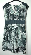 BLACK GREY WHTIE ANIMAL PRINT LADIES CASUAL PARTY SKATER DRESS SIZE 12 F&F