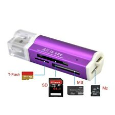 Card Reader LILA Kartenleser Micro SD MMC SDHC M2 USB 2.0 Stick f. Speicherkarte