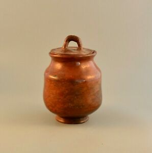 """Old Vintage Maricopa Indian Lidded Pot With Handle - 6.5"""" Tall x 4.5"""" - 1940s"""