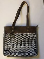 Myra Bags Tote Bag / Purse With Brown Leather Straps & Gray Canvas, Black /white