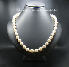 """17"""" Knotted Baroque South Sea Cultured Pearl Necklace 18ct Gold Clasp 31.56g"""