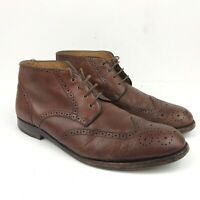 Johnston Murphy  Mens Brown Leather Cap Toe Brogue Dress Ankle Boots 8.5