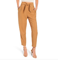 """Leith Women's Size Medium Tie Front Pants Trousers Pleated Tan 27"""" Inseam"""