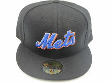 NY Mets Black Custom Wool MLB Throwback New Era 59Fifty Fitted Hat Cap 7-5/8
