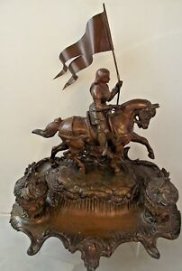 Antique JOAN OF ARC Figure On Horseback Statue Inkwell French Saint