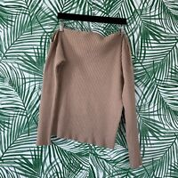Majorelle Tan Twisted Off The Shoulder Ribbed Sweater Women's Size Medium