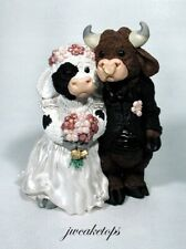 Adorable Animal Cow Bride Bull Groom Wedding Caketop - check our other caketops