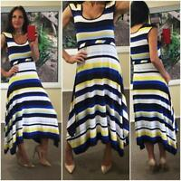 NWT $70 SUZANNE GRAE nautical stripe MAXI DRESS 10 12 blue white resort weekend