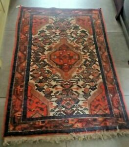 "Vintage wool handwoven rug 110cm x 155cm / 3'7"" x 5'"