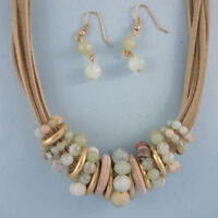 Tan Leather Choker Pastel Stone Bead Bib Collar NEW Statement Necklace Set USA