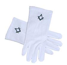 Masonic Standard Blue Square and Compass White Cotton Gloves Freemason Regalia