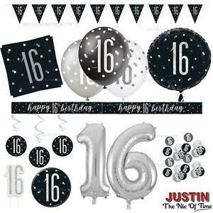 Black 16th Birthday Party Decorations Boys Mens Male Balloons Banners Age 16