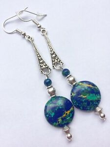 Pressed Turquoise Art Deco Style Earrings With Silver Plated Hooks Gemstones