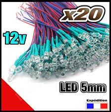 470/20# LED 5mm 12v pré-câblé rouge 20pcs -  précâblé red LED pre wired -