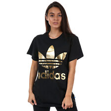 adidas Originals Womens Big Trefoil Logo Tee Short Sleeve T-Shirt Top Black