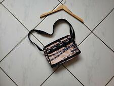 Lesportsac Crossbody Bag Purse Satchel Nylon Tan Black Logo Pockets Zippers GUC