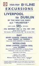 British & Irish Steam Packet Co. Ltd 1969 Handbill Liverpool to Dublin - Munster