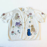 Bonworth Vintage Cat Kitten Sweater Cardigan Wonens XLarge White Button Up
