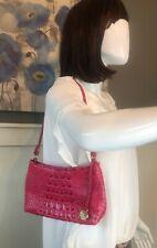 BRAHMIN ANYTIME MINI Alligator Print Ribbon Pink Mini Evening Handbag Purse VGUC