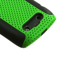 Green MESH Hybrid Hard Silicone Rubber Gel Skin Case BlackBerry Torch 9850 9860