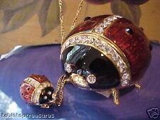 Ladybug Jeweled Trinket Box Matching Necklace 62282