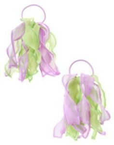 GYMBOREE BUTTERFLY BLOSSOMS GREEN & LAVENDER ORGANZA PONYTAIL HOLDER 2-ct NWT