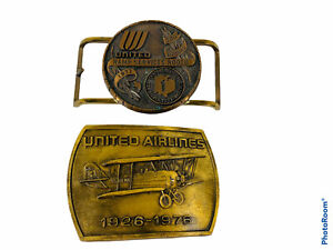 🔥Lot Of 2 • Vintage United Airlines Brass Belt Buckle • 1977 Rodeo & 1926-1976