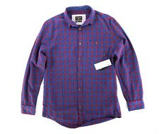 NWT Quicksilver Sz. Sm Soft Blue Red Plaid Button Down Shirt Phaser Setting