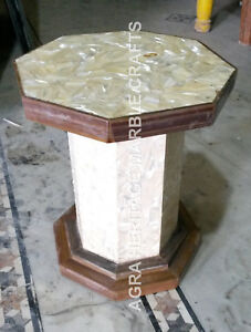 "18"" Marble Pedestal Table Stand For Sale Mother of Pearl Inlay Stone Decor E382"