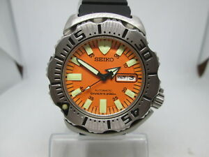 SEIKO MONSTER 200M 7S26-0350 DAYDATE STAINLESS STEEL AUTOMATIC MENS DIVER WATCH