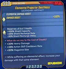 Xbox LV 57 ELEMENTAL PROJECTOR DEATHLESS 💥 HEAVY DAMAGE, MAG SIZE, ACTION SKILL