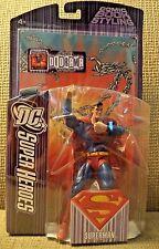 DC SUPER HEROES SUPERMAN S3 SELECT SCULPT FIGURE BLACK BACKGROUND LOGO  *NEW*