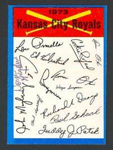 1973 Topps Blue Team Checklists Royals #11 Signed Auto (Norm Angelini) (d. 2019)