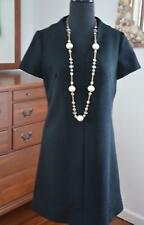 Vtg 60s Sacony Exclusive Black Textured Poly Knit MOD Mini GoGo Scooter Dress! S