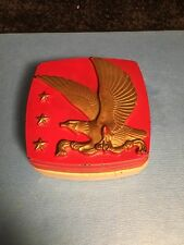 Vintage Hickok red cufflink box with eagle