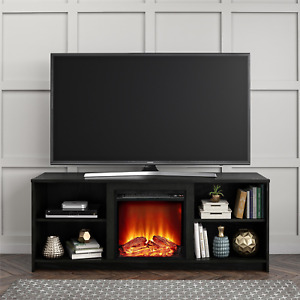 """Fireplace TV Stand for TVs up to 65"""", Black Oak"""