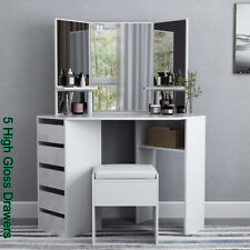 Arielle Corner Dressing Table Multi-angle Mirror Stool 5 Drawers Desk High Gloss