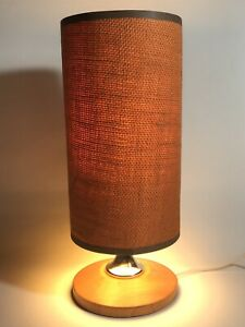 Mid Century Vintage Retro Teak Table Lamp & Original Orange Hessian Shade 60's