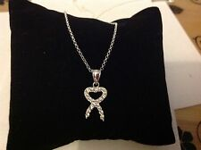 "Sterling Silver 925 Bow Pendant With 18"" Chain"