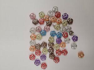 Estate Small Lot Plastic Very Small Star Buttons Bright Colors Decorative
