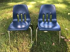 """Lot of 2 Vintage Virco Kids School Chairs 12"""" Seat Height Chrome/Navy Blue"""