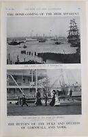 1901 Imprimé Maison Coming Duc & Duchesse De Cornwall York Ophir Arricing