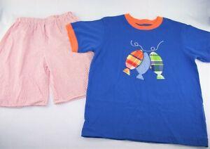 Boys KELLY'S KIDS boutique fish t shirt seersucker shorts outfit 7 8 summer set