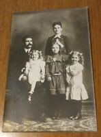 "4"" X 6"" Antique Photograph Mother Father Children Family Photo 3 Girls Sisters"