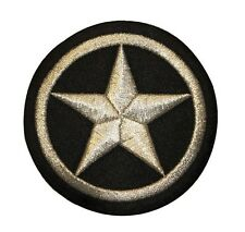 3 INCH Silver and Black Star In Circle Embroidered Iron On Applique Patch FD