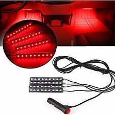 4X 9LED Car Interior Atmosphere Light Footwell Cigarette Lighter Decor Lamp Red