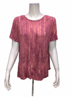 Lisa Rinna Collection Women's Printed Knit Top with Back Detail Medium Size