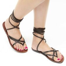 WOMENS STRAPPY LEATHER FLAT SANDALS HANDMADE IN ITALY IN DARK BROWN CUIR